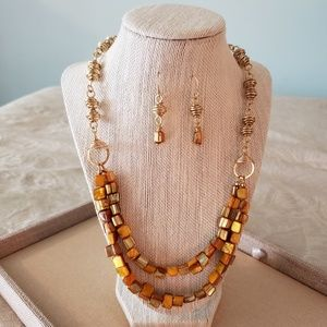 Artisan Honey Beehive Necklace and Earrings Set
